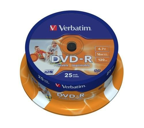 Médium Verbatim DVD-R 4,7GB 16x Printable 25-cake